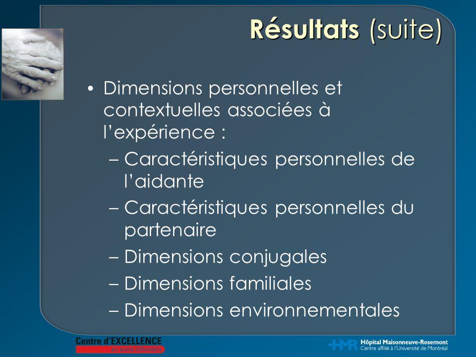 Résultats (suite) Dimensions personnelles et contextuelles associées à l'expérience : Caractéristiques personnelles de l'aidante.