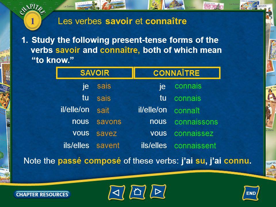 Les verbes savoir et connaître