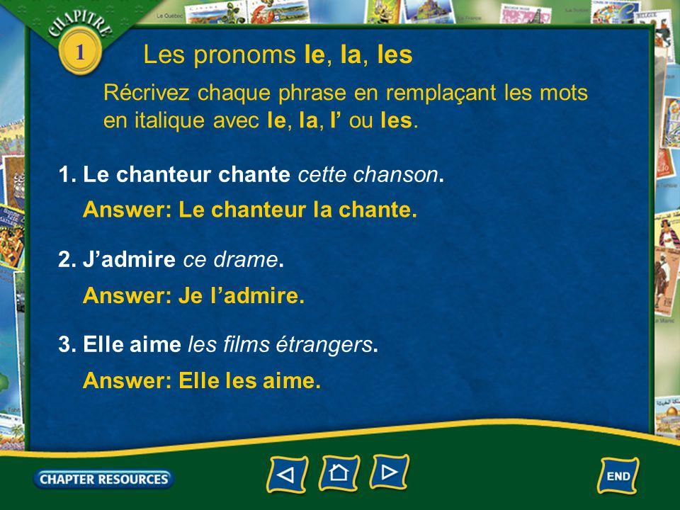 Les pronoms le, la, les Récrivez chaque phrase en remplaçant les mots en italique avec le, la, I' ou les.