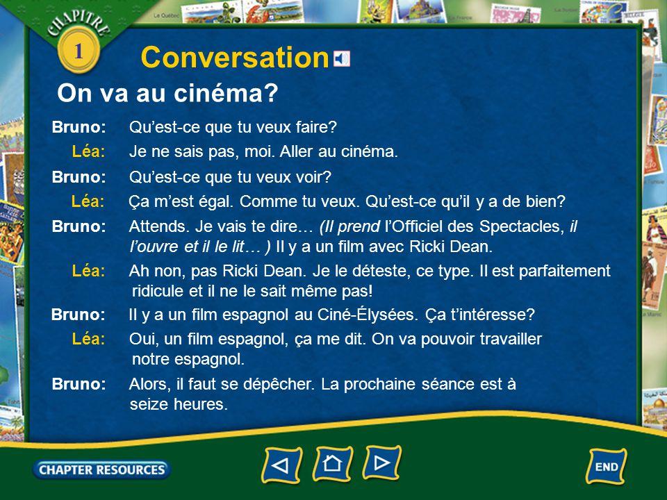 Conversation On va au cinéma Bruno: Qu'est-ce que tu veux faire