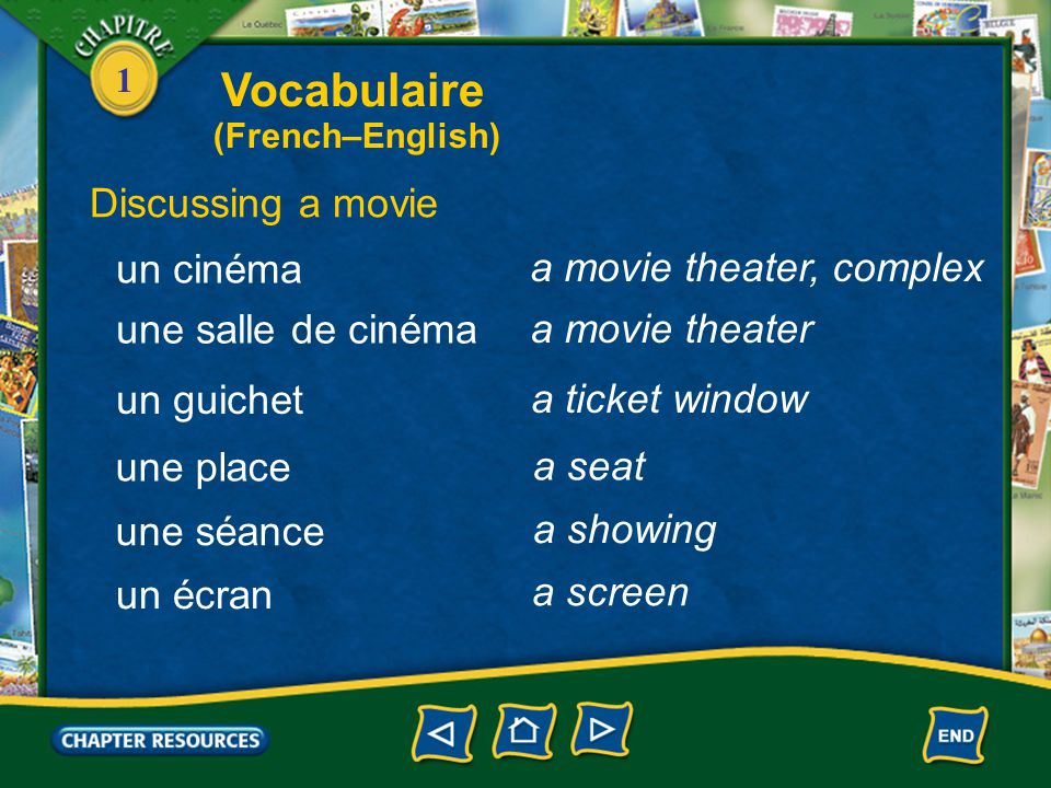 Vocabulaire Discussing a movie un cinéma a movie theater, complex