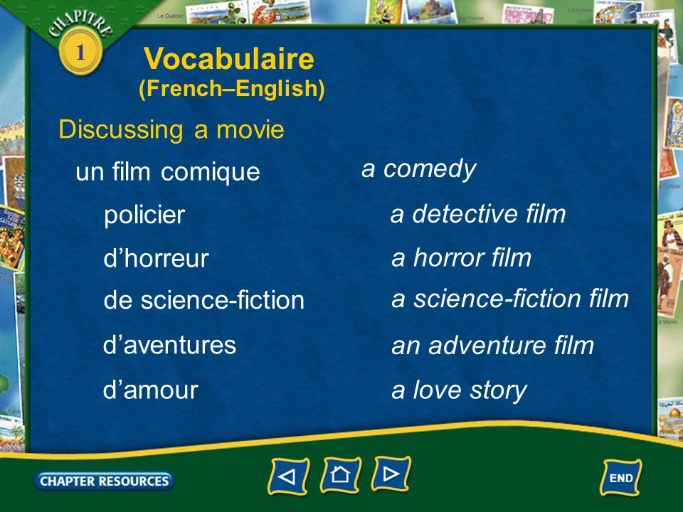 Vocabulaire Discussing a movie un film comique a comedy policier