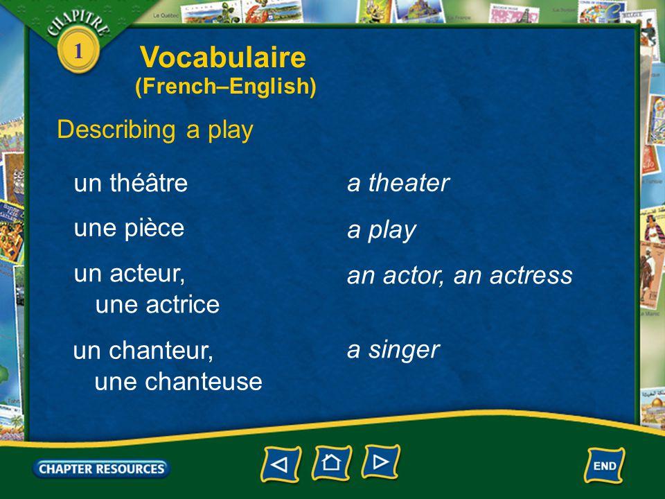 Vocabulaire Describing a play un théâtre a theater une pièce a play