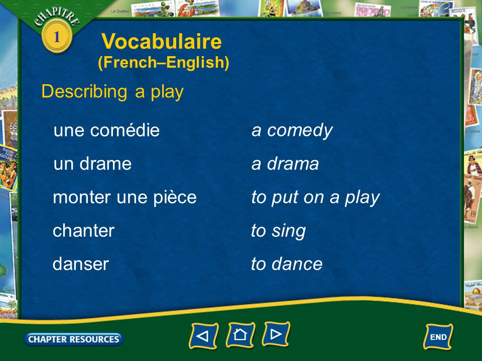 Vocabulaire Describing a play une comédie a comedy un drame a drama