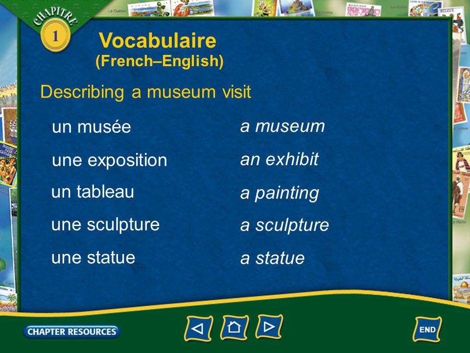 Vocabulaire Describing a museum visit un musée a museum une exposition