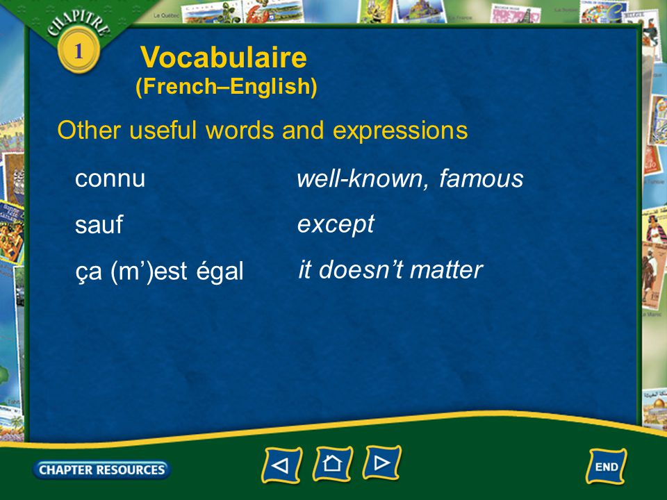 Vocabulaire Other useful words and expressions connu