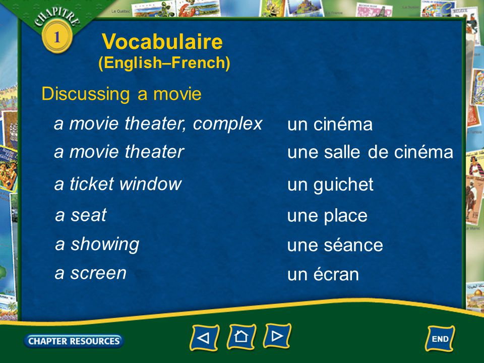Vocabulaire Discussing a movie a movie theater, complex un cinéma