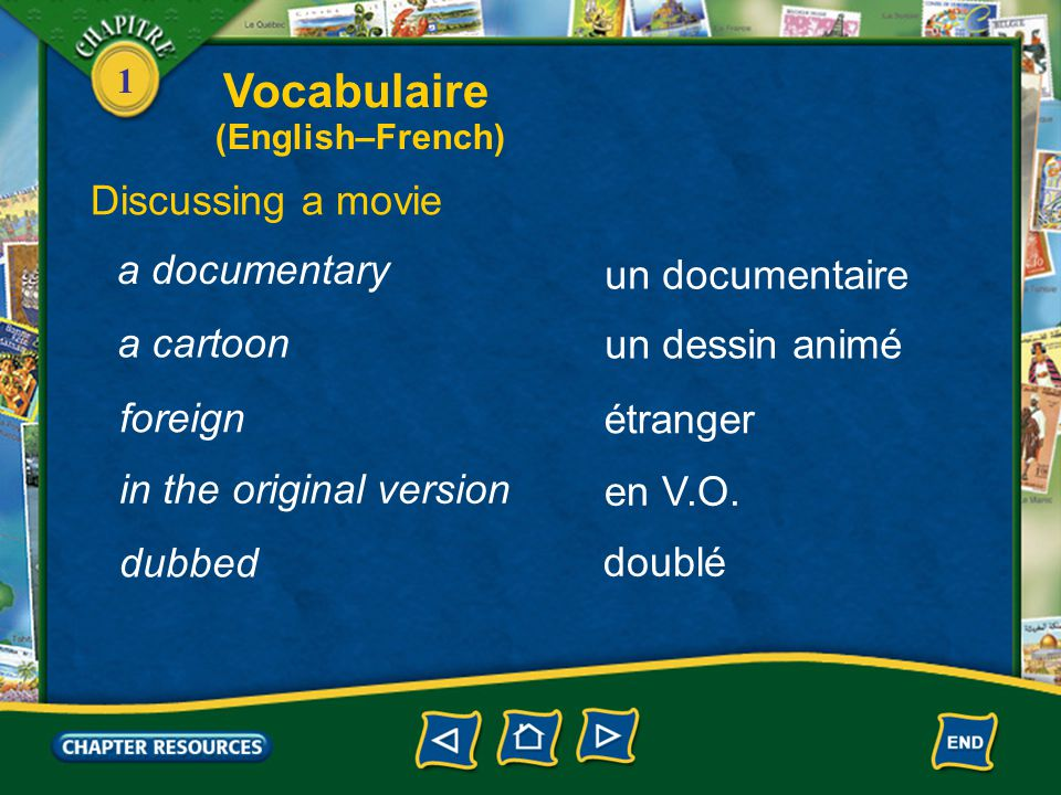 Vocabulaire Discussing a movie a documentary un documentaire a cartoon