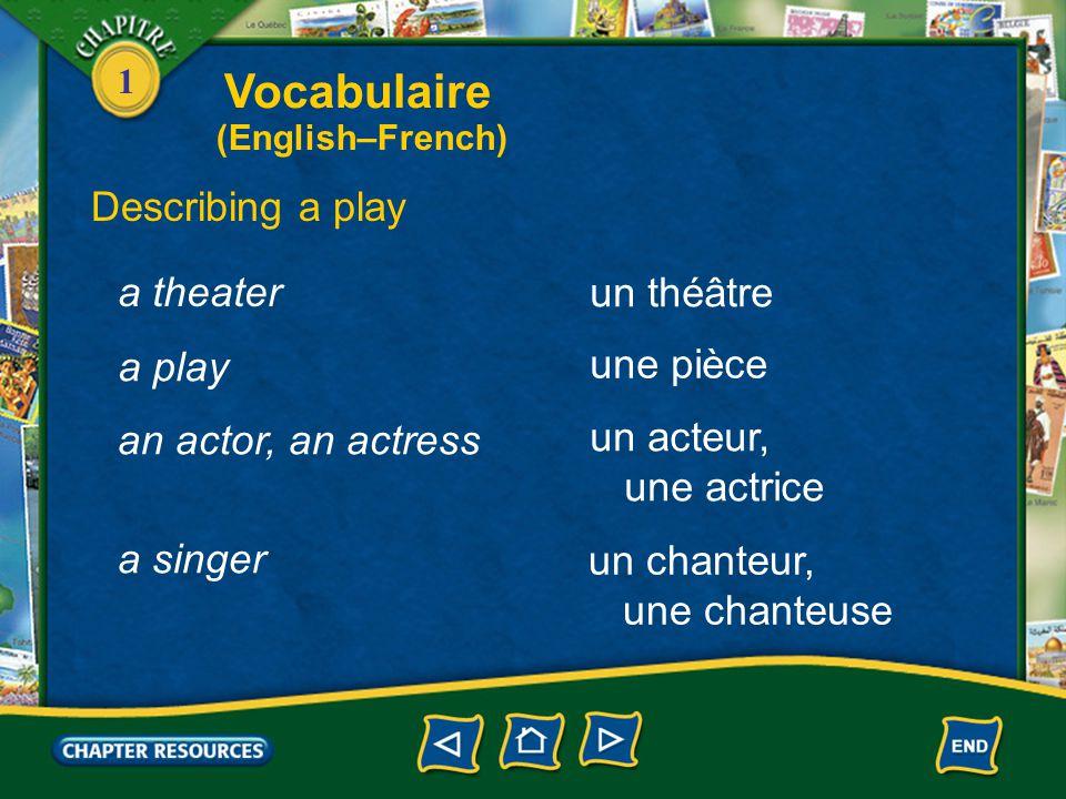 Vocabulaire Describing a play a theater un théâtre a play une pièce