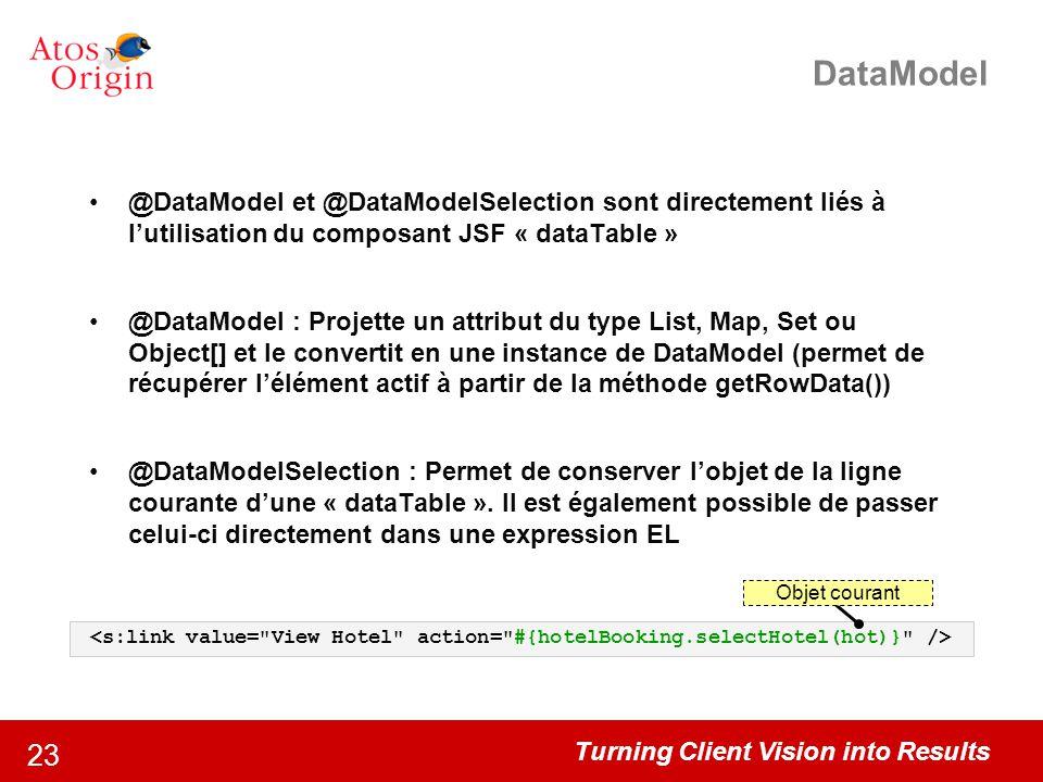 DataModel @DataModel et @DataModelSelection sont directement liés à l'utilisation du composant JSF « dataTable »