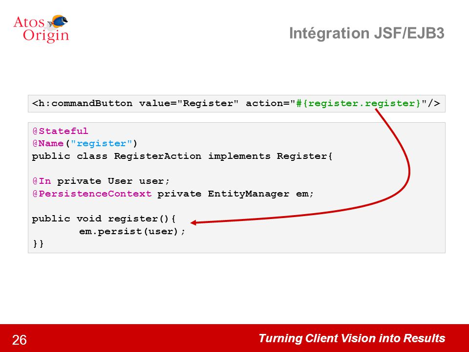 Intégration JSF/EJB3 <h:commandButton value= Register action= #{register.register} /> @Stateful. @Name( register )