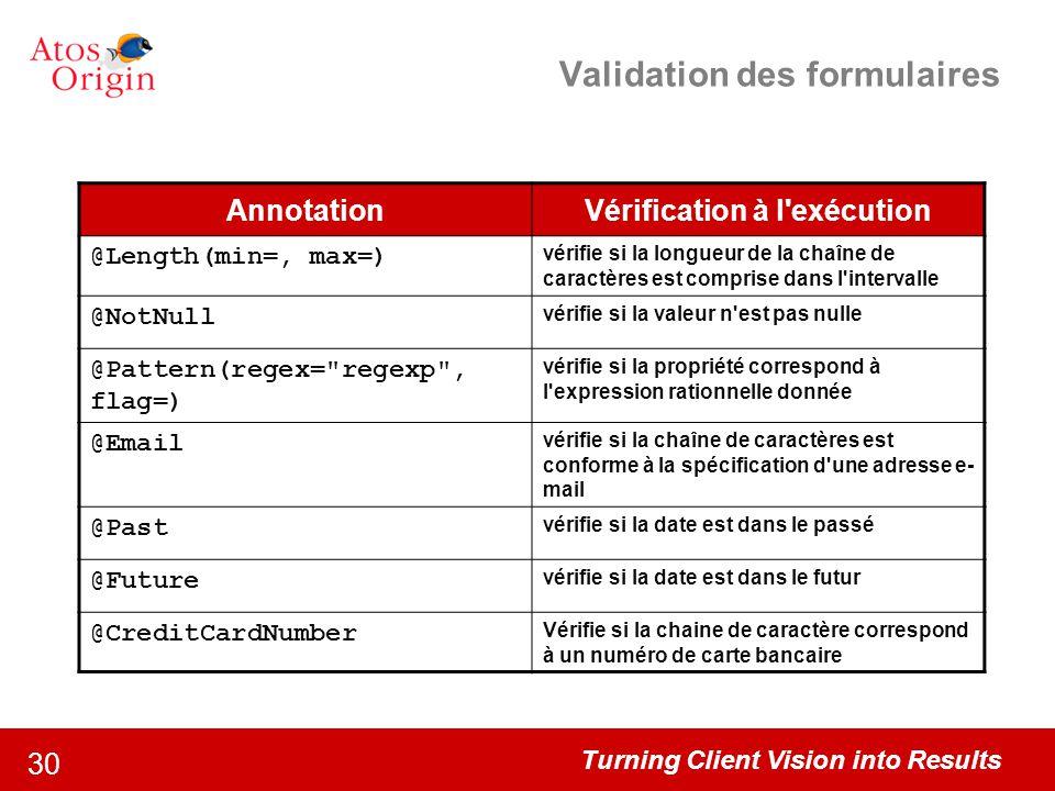 Validation des formulaires