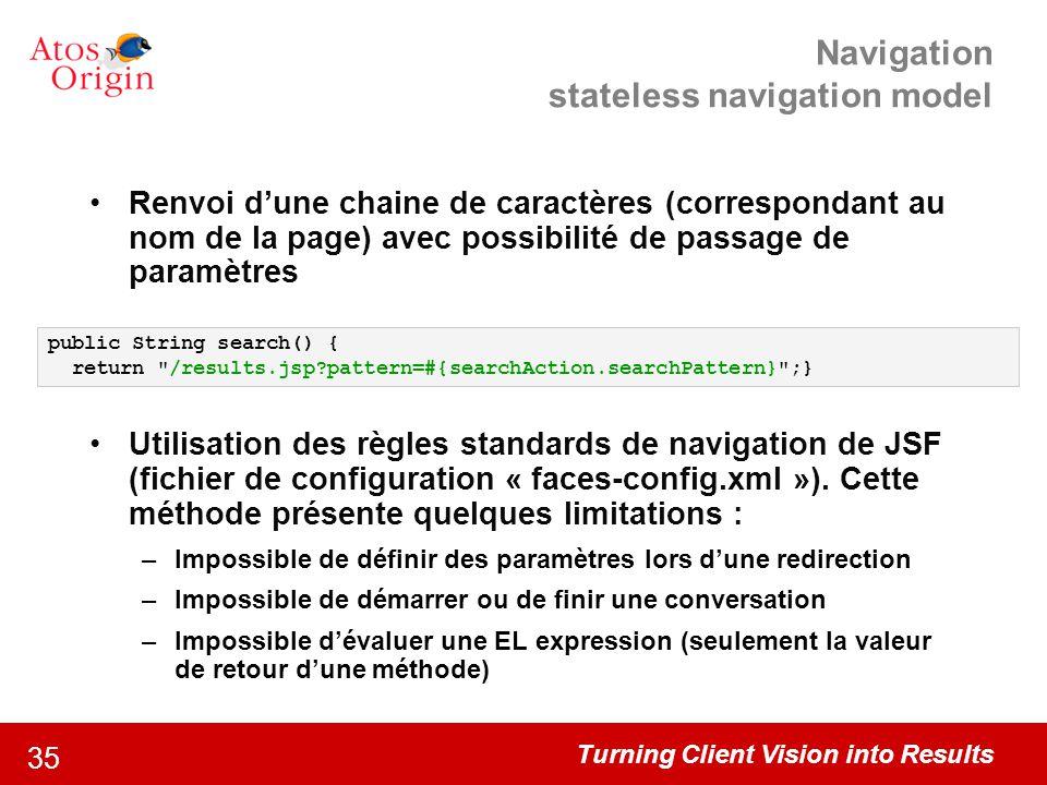 Navigation stateless navigation model