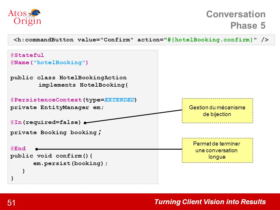Conversation Phase 5 <h:commandButton value= Confirm action= #{hotelBooking.confirm} /> @Stateful @Name( hotelBooking )