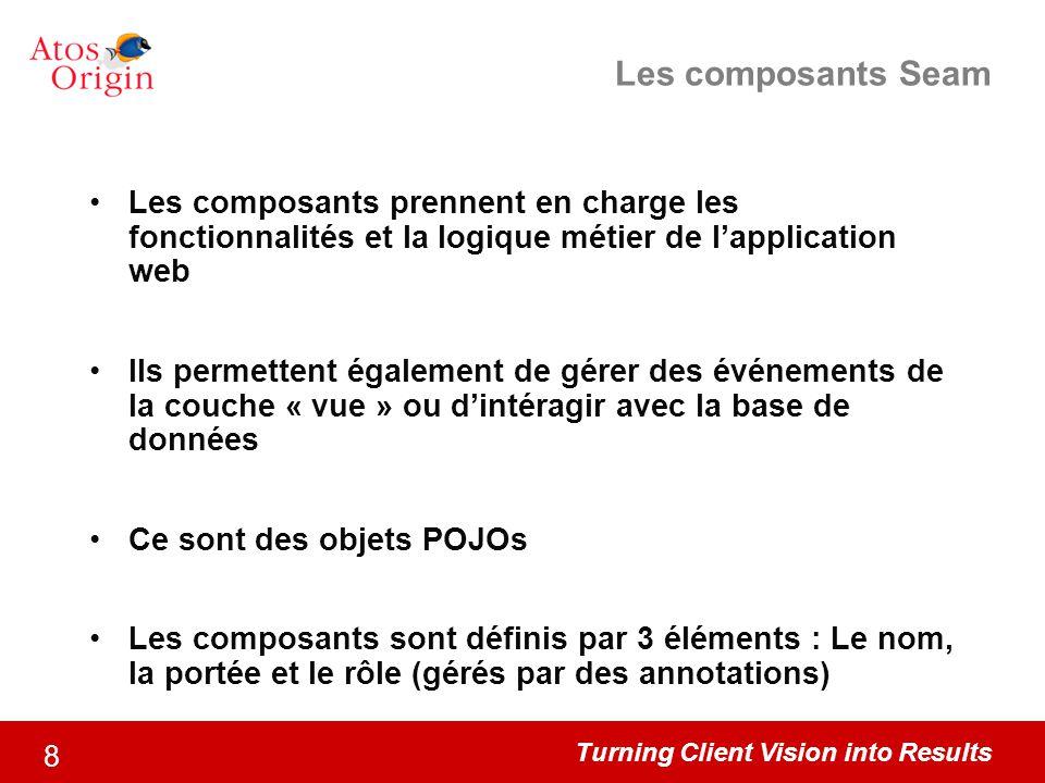 Les composants Seam Les composants prennent en charge les fonctionnalités et la logique métier de l'application web.