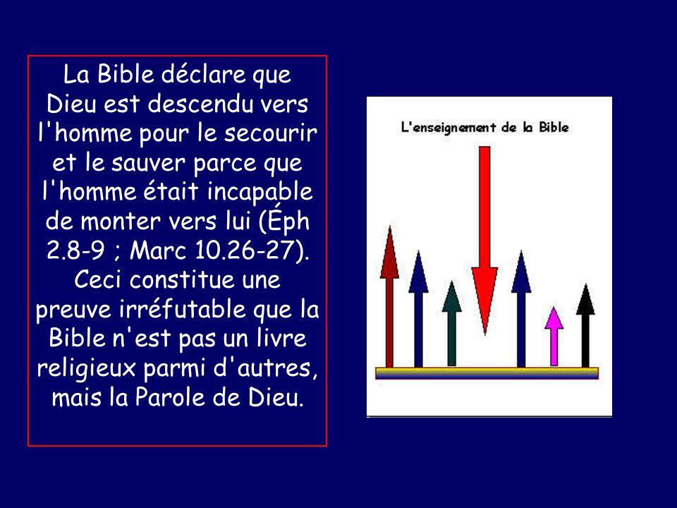 La Bible déclare que Dieu est descendu vers l homme pour le secourir et le sauver parce que l homme était incapable de monter vers lui (Éph 2.8-9 ; Marc 10.26-27).