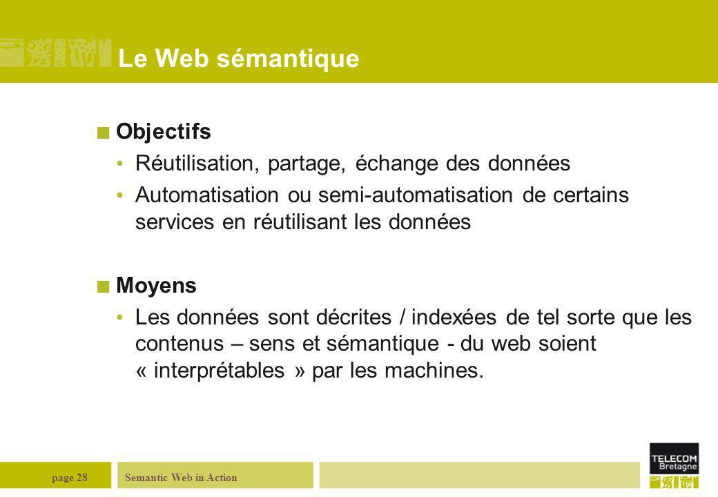 Le Web sémantique Objectifs