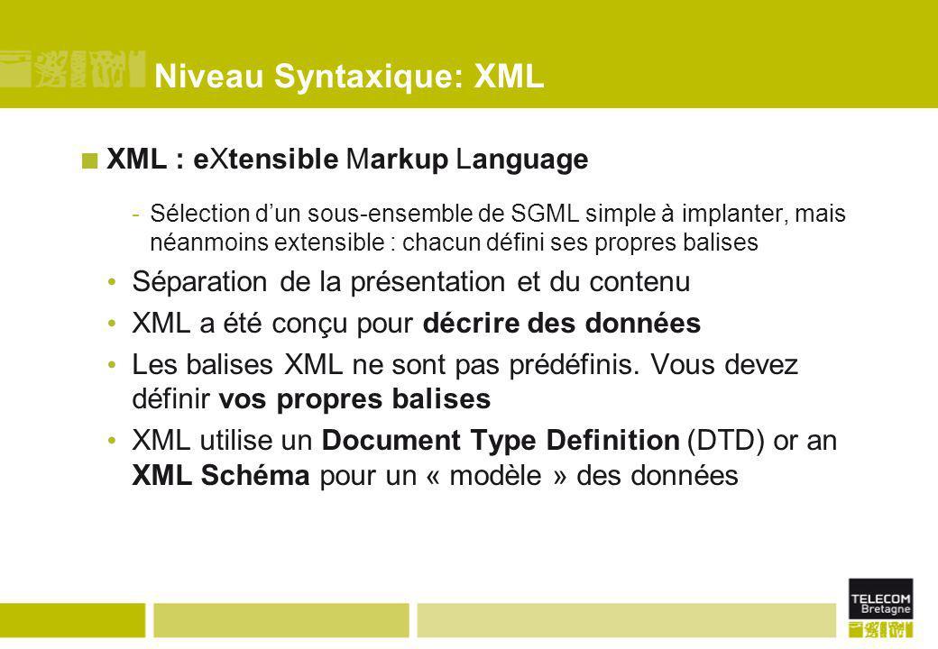 Niveau Syntaxique: XML