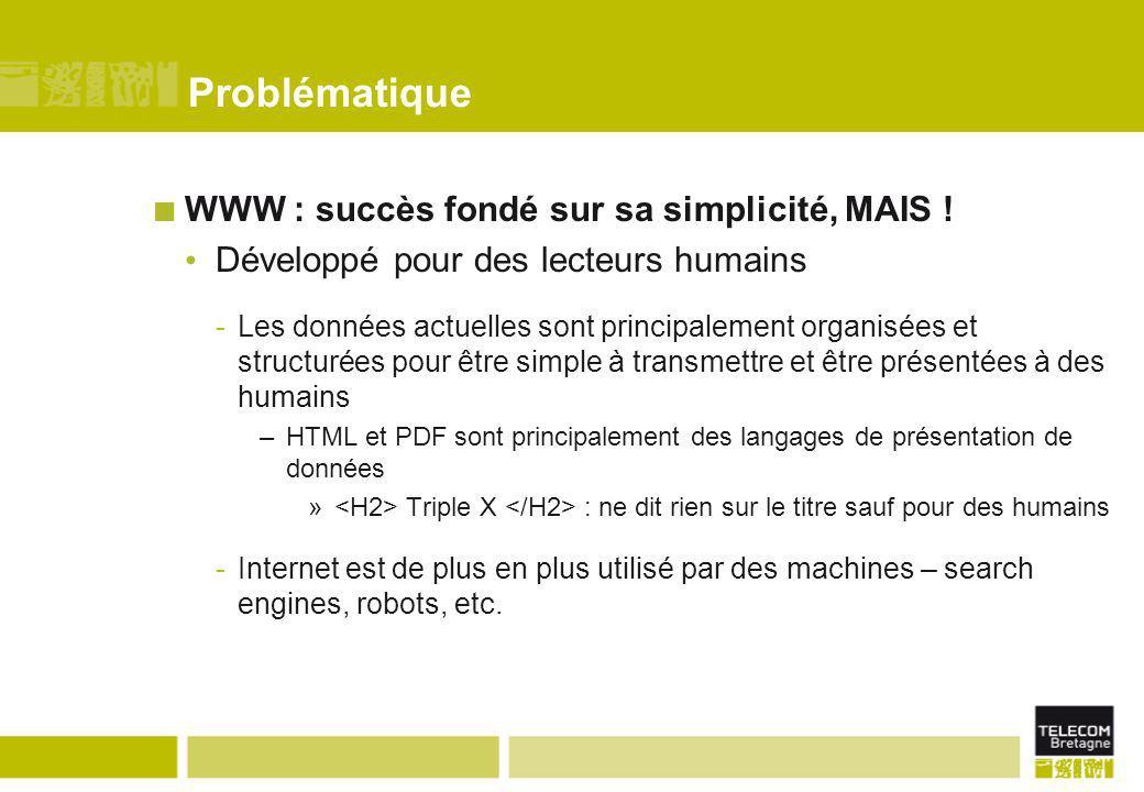Problématique WWW : succès fondé sur sa simplicité, MAIS !