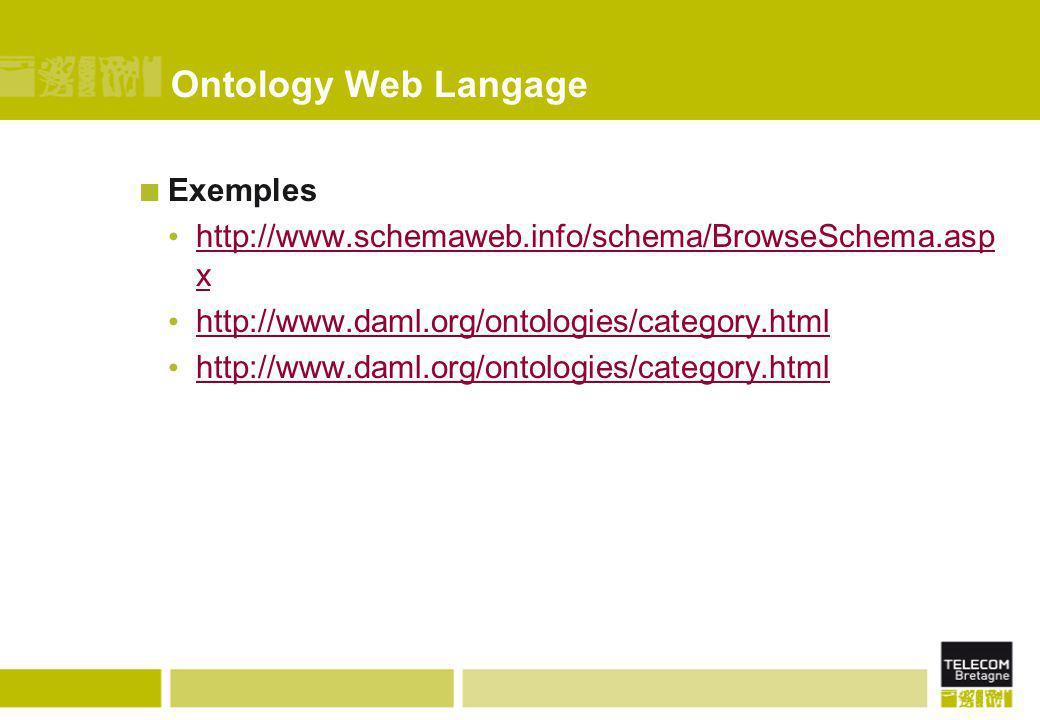 Ontology Web Langage Exemples