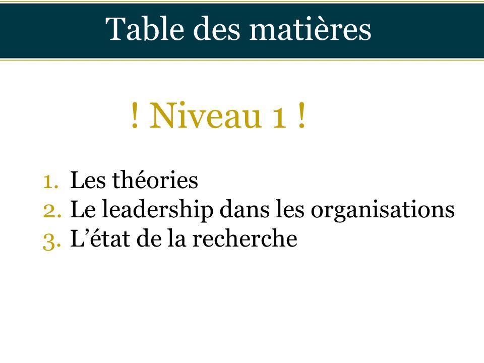 ! Niveau 1 ! Table des matières Les théories