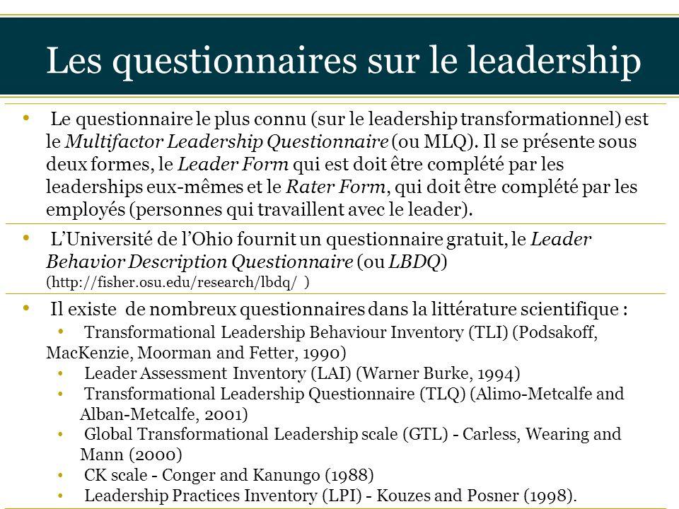 Les questionnaires sur le leadership