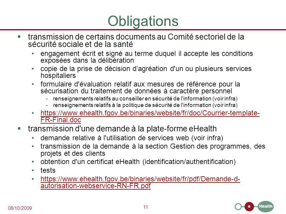 Obligations transmission de certains documents au Comité sectoriel de la sécurité sociale et de la santé.