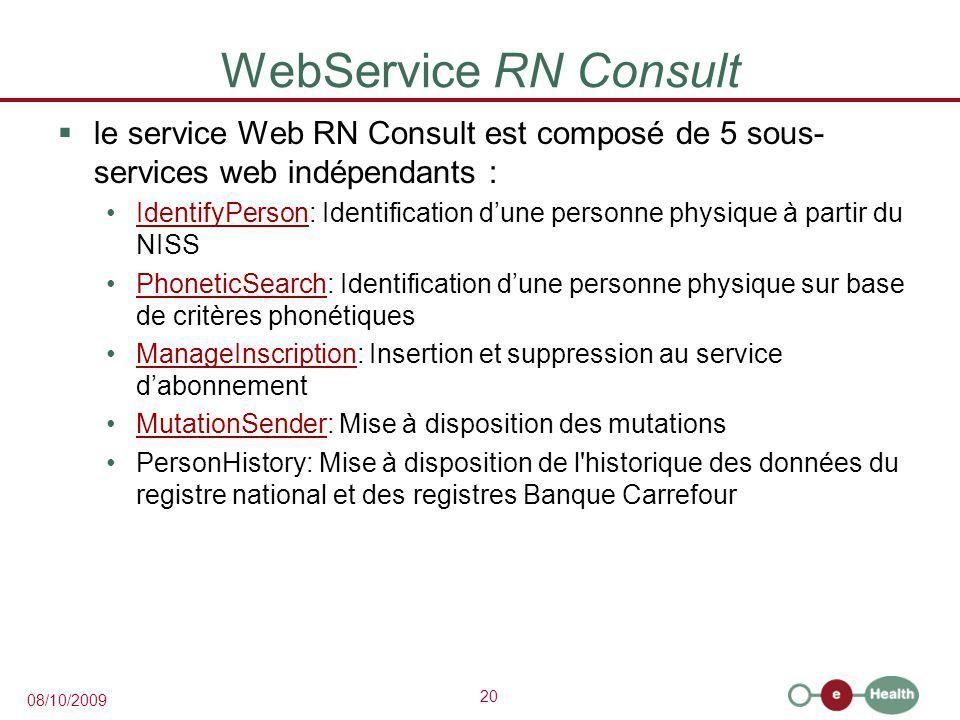 WebService RN Consult le service Web RN Consult est composé de 5 sous-services web indépendants :