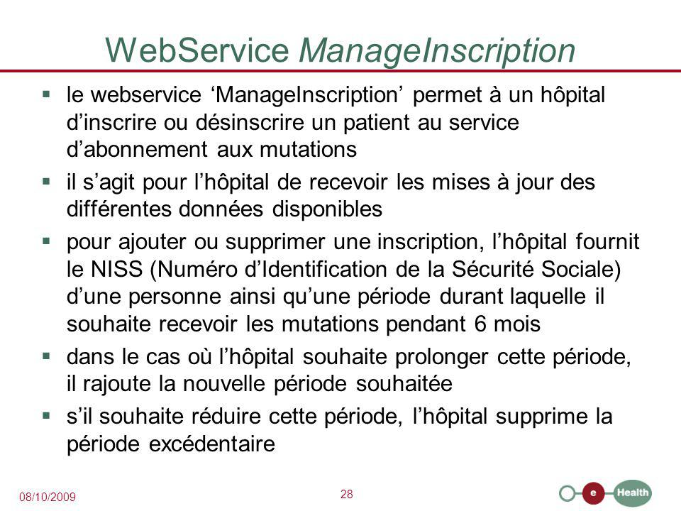 WebService ManageInscription