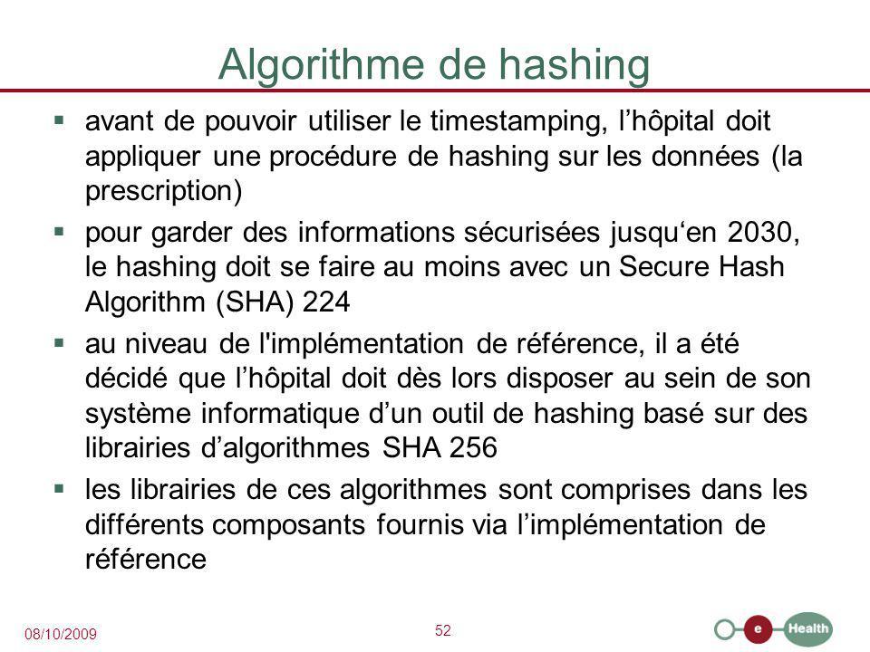 Algorithme de hashing avant de pouvoir utiliser le timestamping, l'hôpital doit appliquer une procédure de hashing sur les données (la prescription)