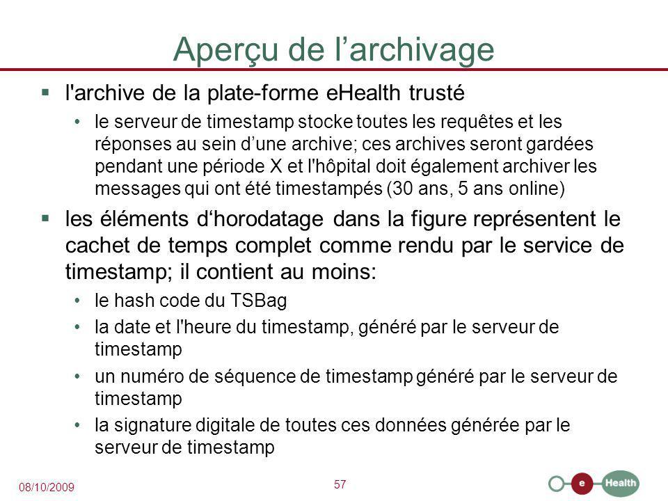 Aperçu de l'archivage l archive de la plate-forme eHealth trusté