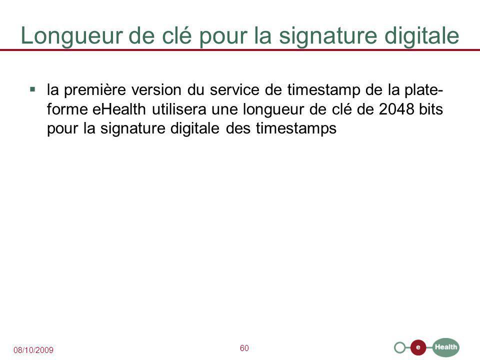 Longueur de clé pour la signature digitale