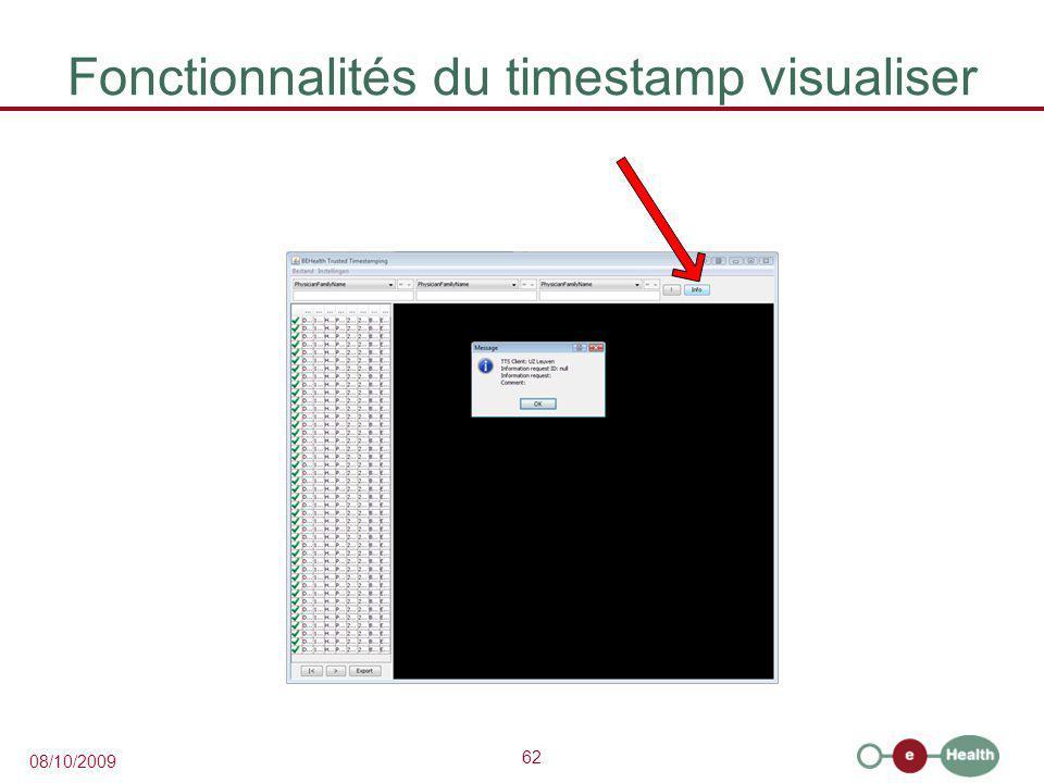 Fonctionnalités du timestamp visualiser