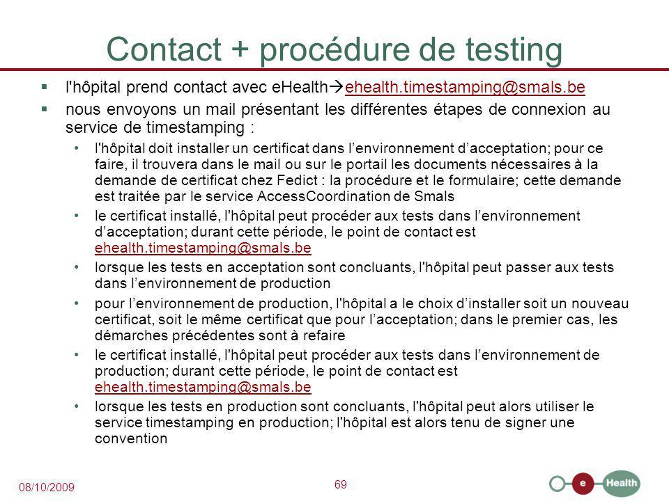 Contact + procédure de testing