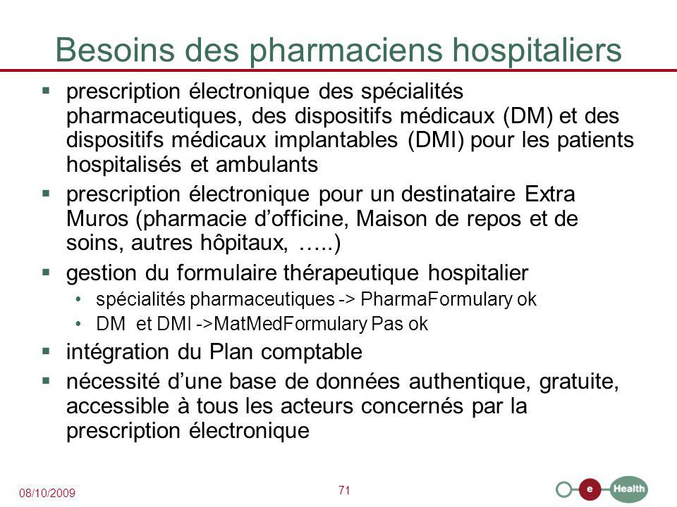 Besoins des pharmaciens hospitaliers