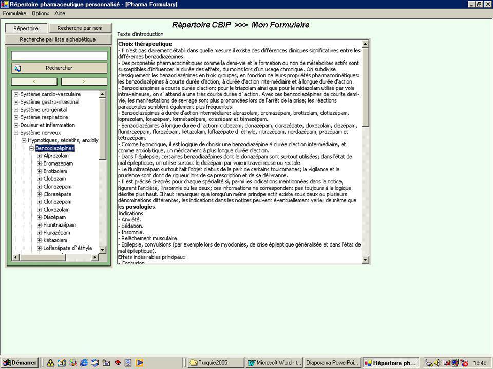 Le logiciel est structuré de la même manière que le Répertoire Commenté des Médicaments, édité par le CBIP-BCFI, et en reprend d'origine l'entièreté des textes.