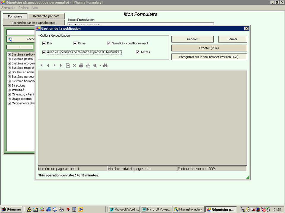 édition1 Les différentes options de publication vous permettent d'éditer des documents plus ou moins détaillés.