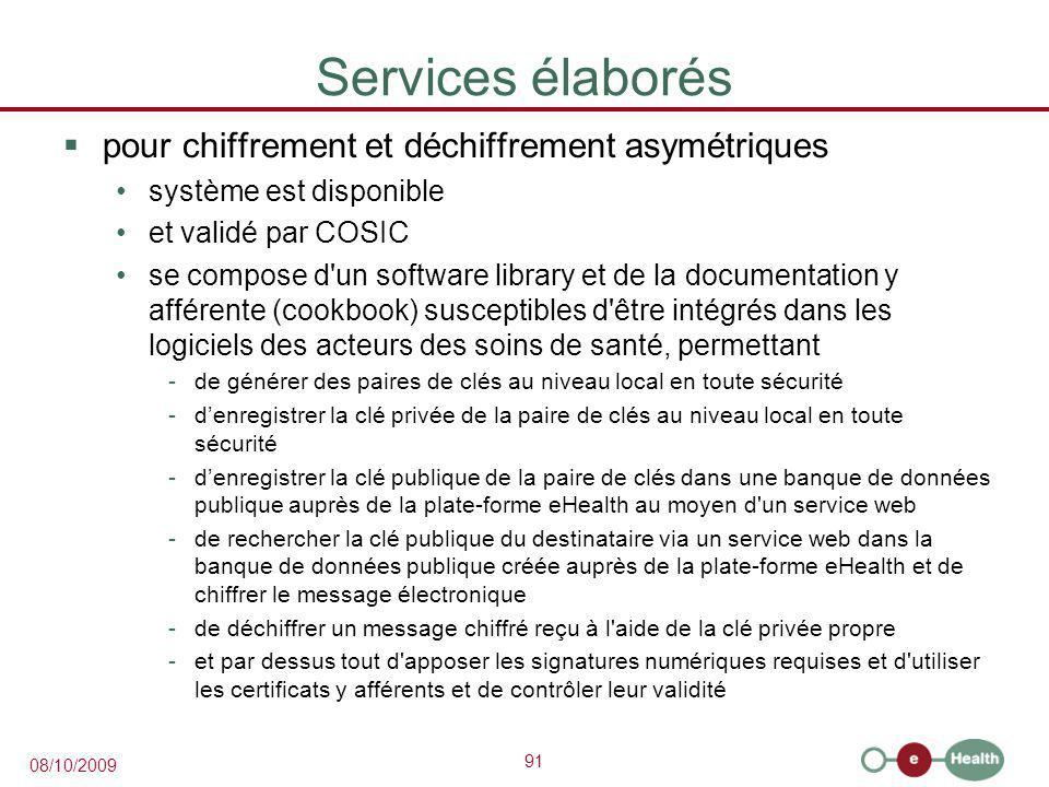 Services élaborés pour chiffrement et déchiffrement asymétriques