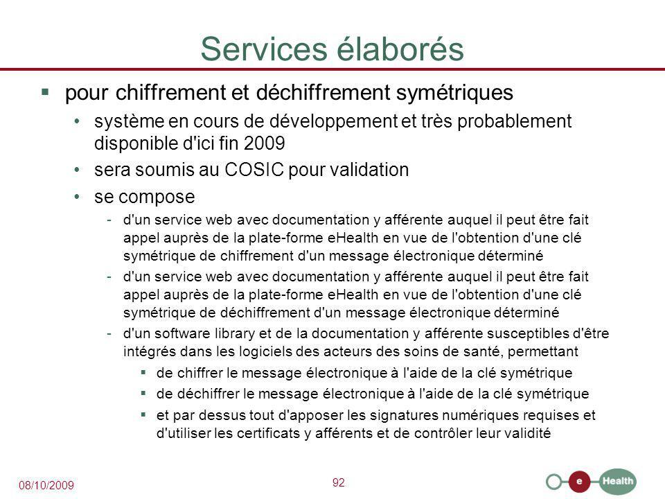 Services élaborés pour chiffrement et déchiffrement symétriques