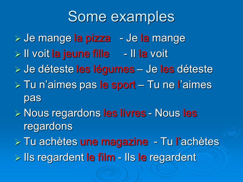 Some examples Je mange la pizza - Je la mange