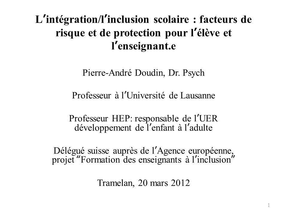 L'intégration/l'inclusion scolaire : facteurs de risque et de protection pour l'élève et l'enseignant.e