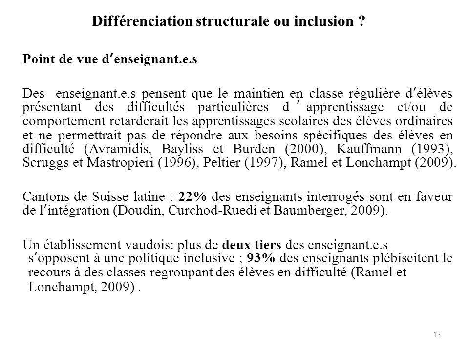 Différenciation structurale ou inclusion