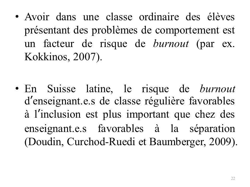 Avoir dans une classe ordinaire des élèves présentant des problèmes de comportement est un facteur de risque de burnout (par ex. Kokkinos, 2007).