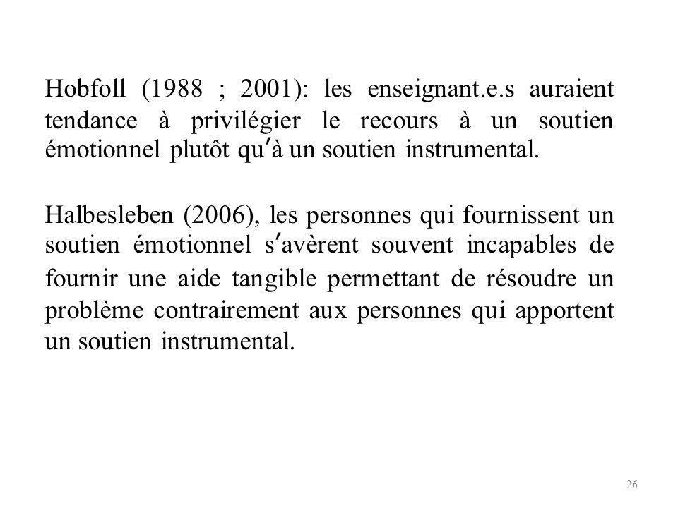 Hobfoll (1988 ; 2001): les enseignant. e
