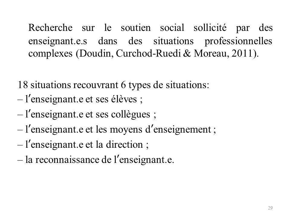 Recherche sur le soutien social sollicité par des enseignant. e