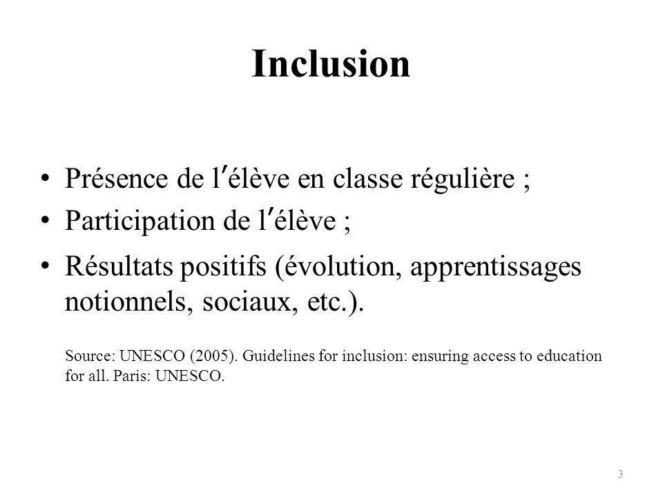 Inclusion Présence de l'élève en classe régulière ;