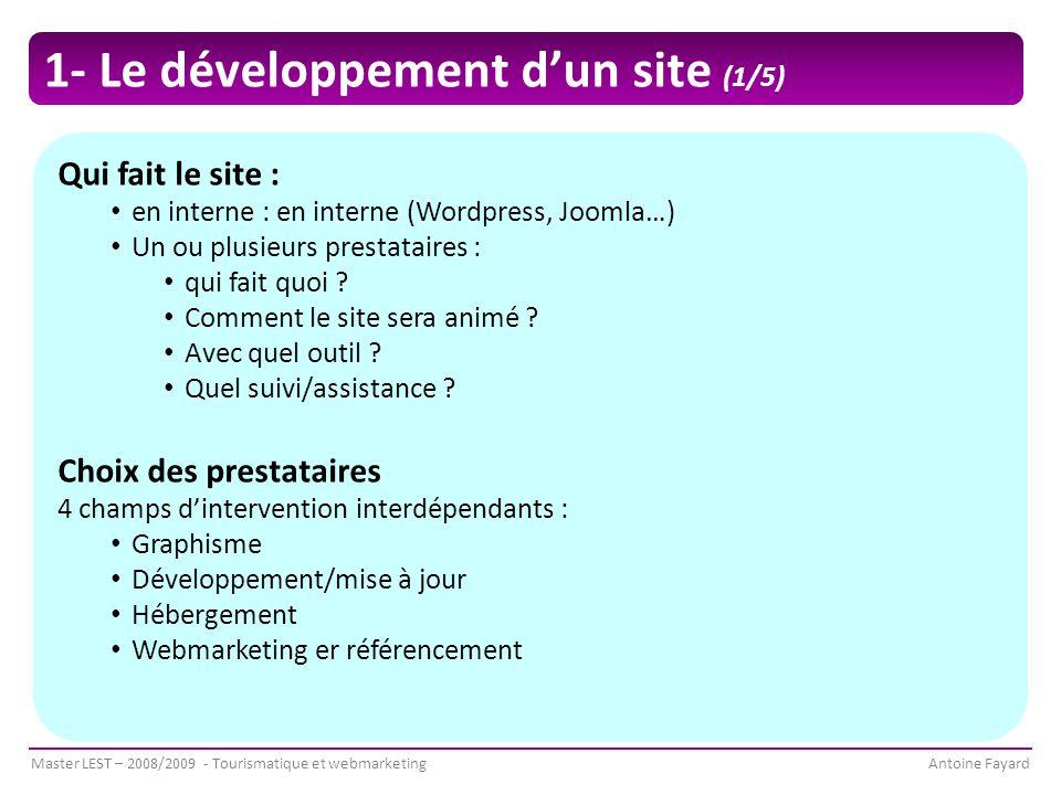 1- Le développement d'un site (1/5)