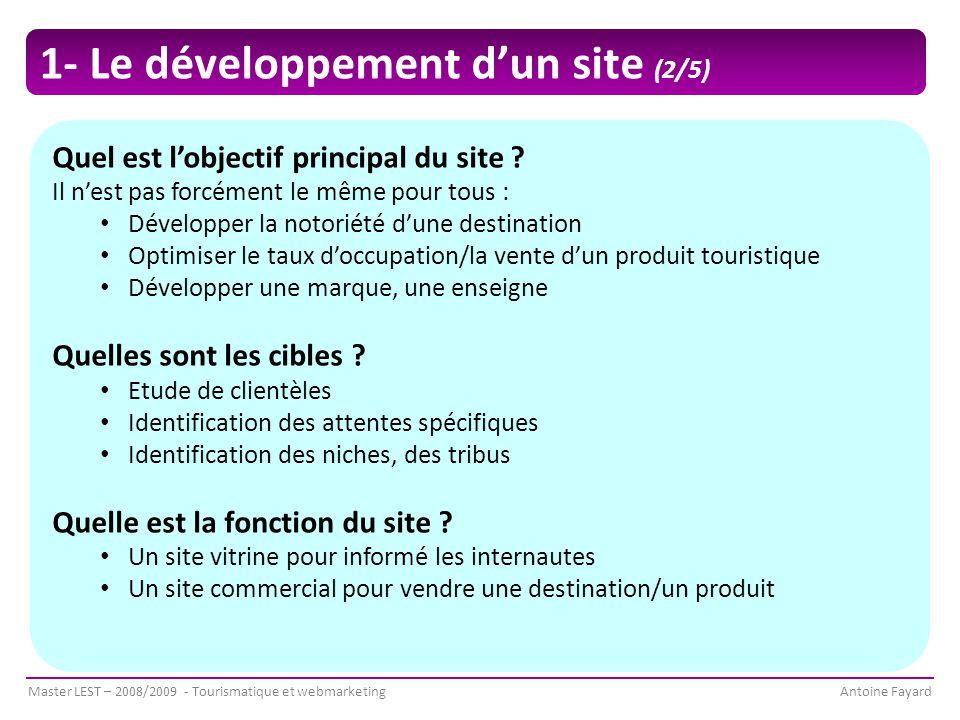 1- Le développement d'un site (2/5)