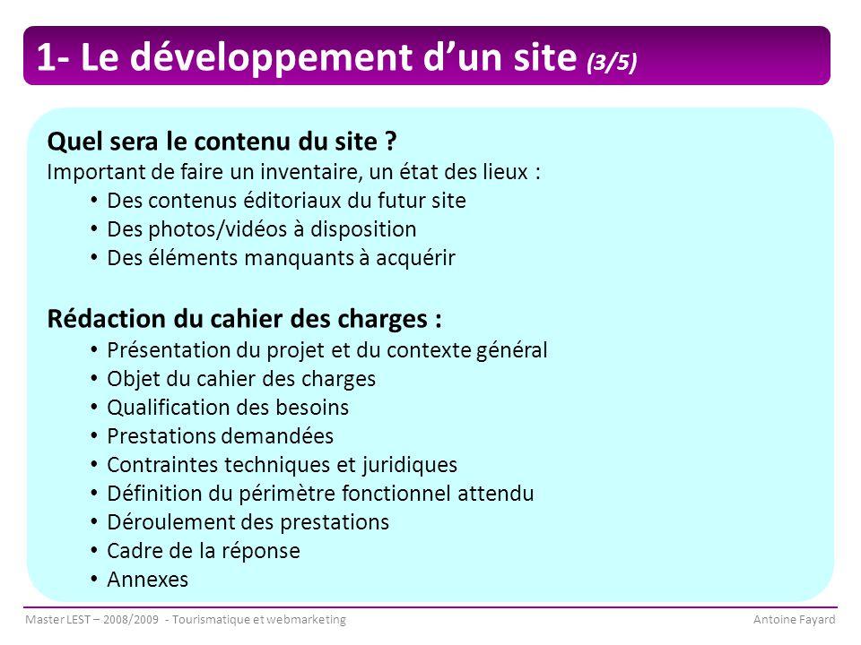 1- Le développement d'un site (3/5)