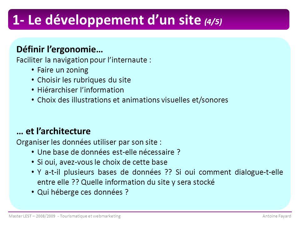 1- Le développement d'un site (4/5)